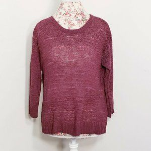 H&M Maroon Red Loose Knit Sweater 3/4 Sleeve Large
